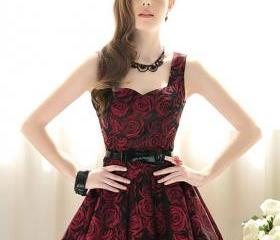 Elegant vintage red rose dress