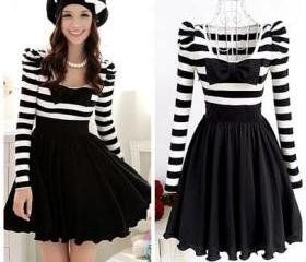 Elegant black and white stripe dress